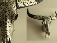 Buffalo skull decorated in Orientic style