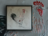 schilderij-wandpaneel-haan-met-kippen