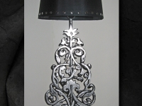 arabesk-l-lampvoet-silver-black-studded-lampshade